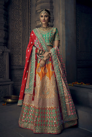 Orange and Green Banarasi Lehenga Choli - Desi Royale