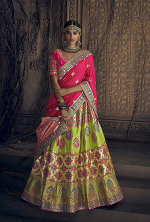 Multicolor Banaras Silk Lehenga Choli - Desi Royale