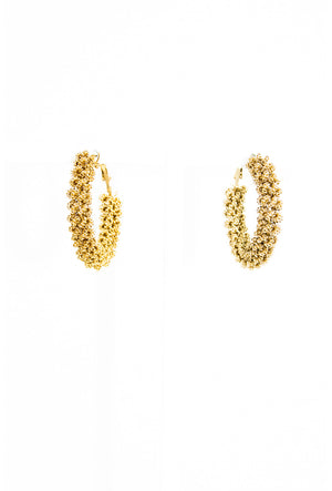 Gold twisted wire hoop earrings - Desi Royale