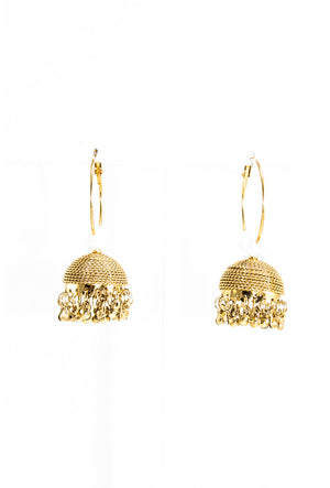 Desi jhumka earrings with pearls and beads - Desi Royale