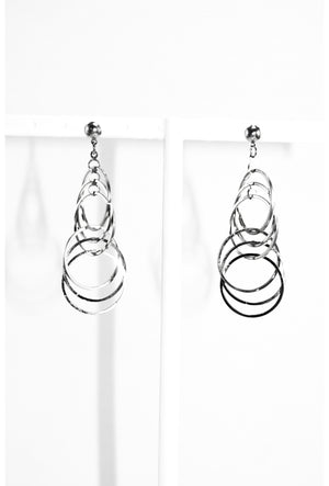 Silver multi circle link earrings - Desi Royale