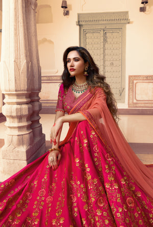 Pink and Red Lehenga Choli - Desi Royale