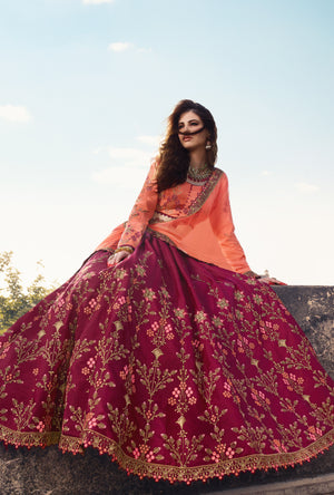 Peach and Pink Lehenga Choli - Desi Royale