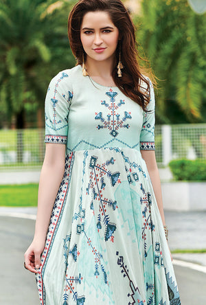 Light Cyan Digital Print Dress - Desi Royale