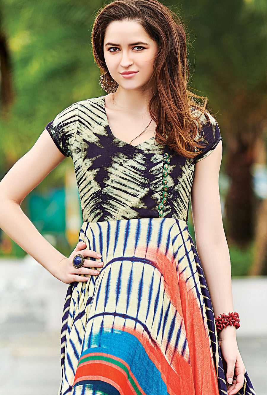 Multicolor Cotton Digital Print Dress - Desi Royale