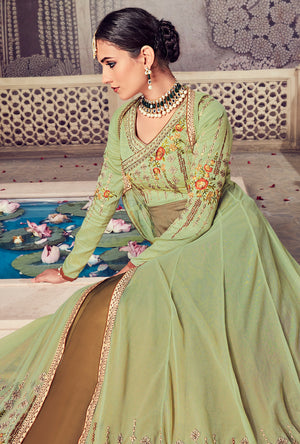 Sage Anarkali Suit - Desi Royale