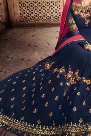 Blue Anarkali Suit - Desi Royale