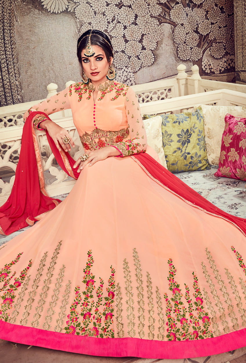 Peach Anarkali Suit - Desi Royale