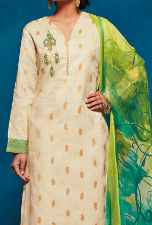 Cream Indian Suit - Desi Royale