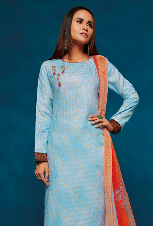 Sky Blue Indian Suit - Desi Royale