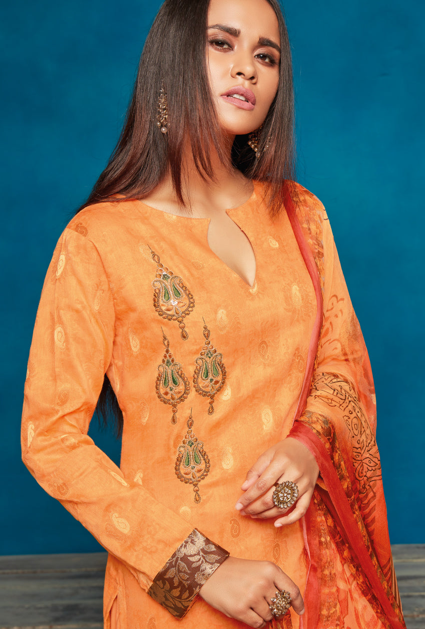 Orange Indian Suit - Desi Royale