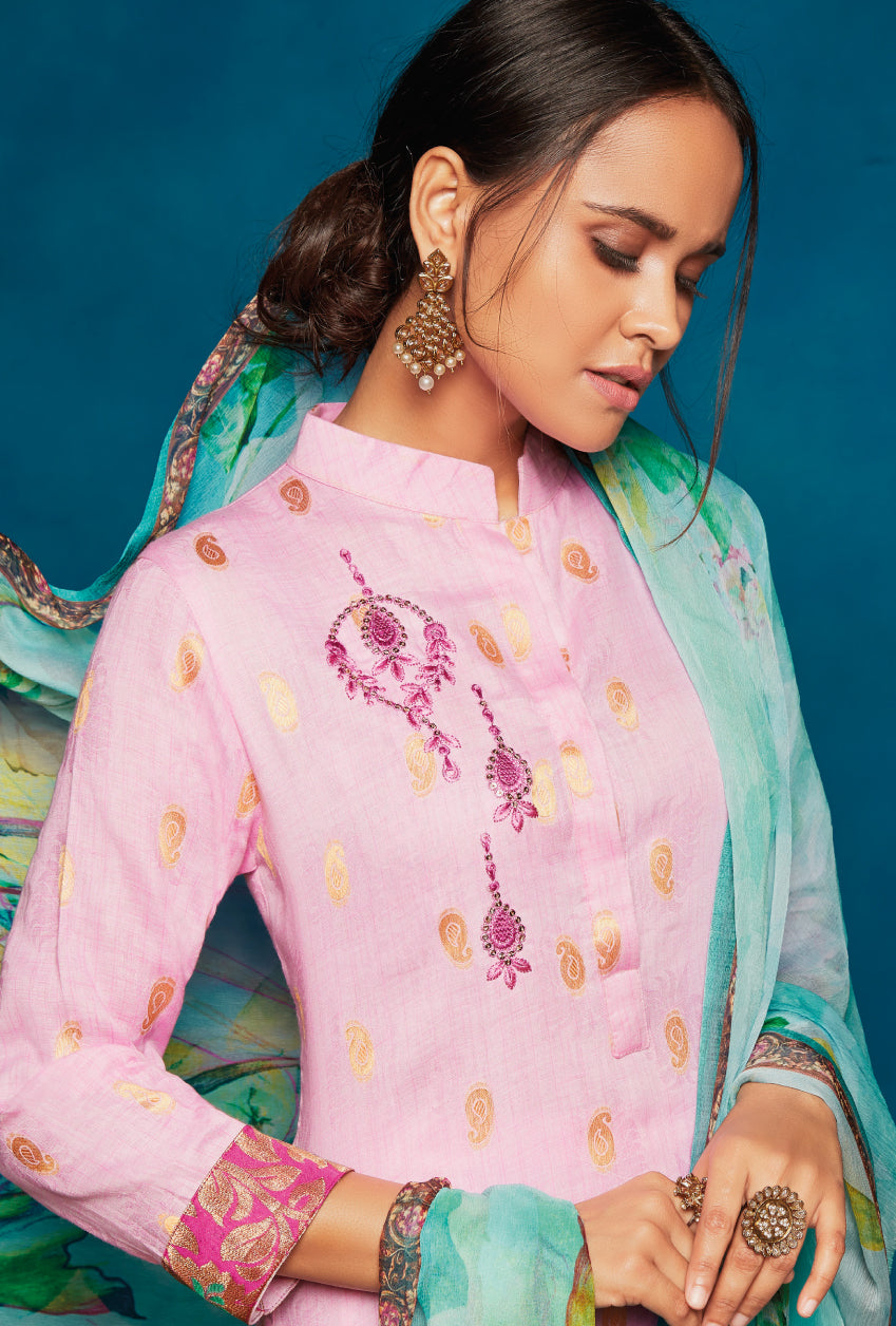 Baby Pink Indian Suit - Desi Royale