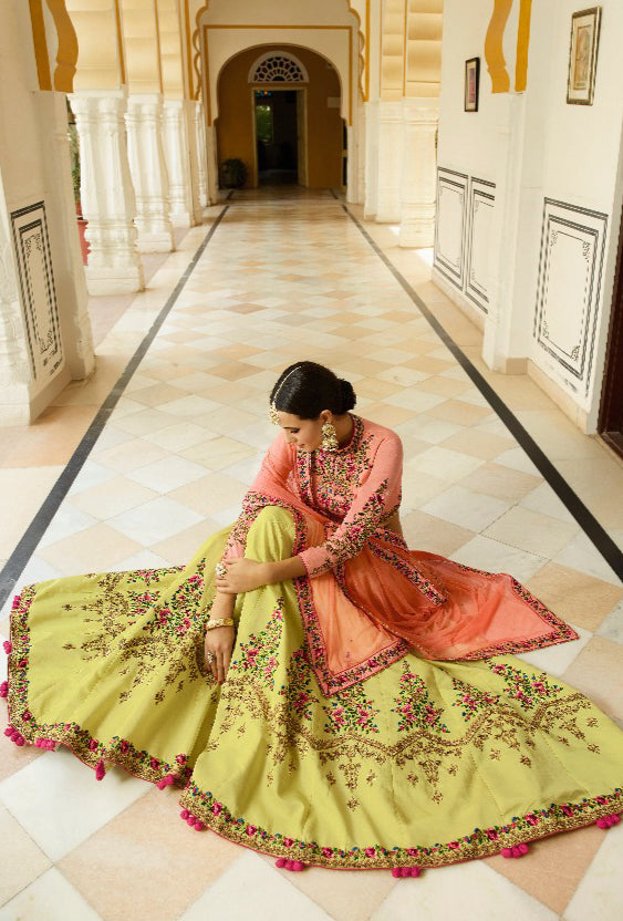 Peach Lehenga Dress - Desi Royale