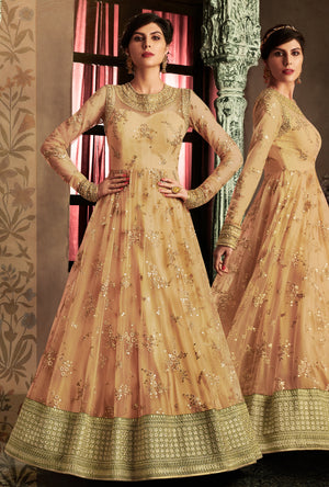 Orange net Anarkali - Desi Royale