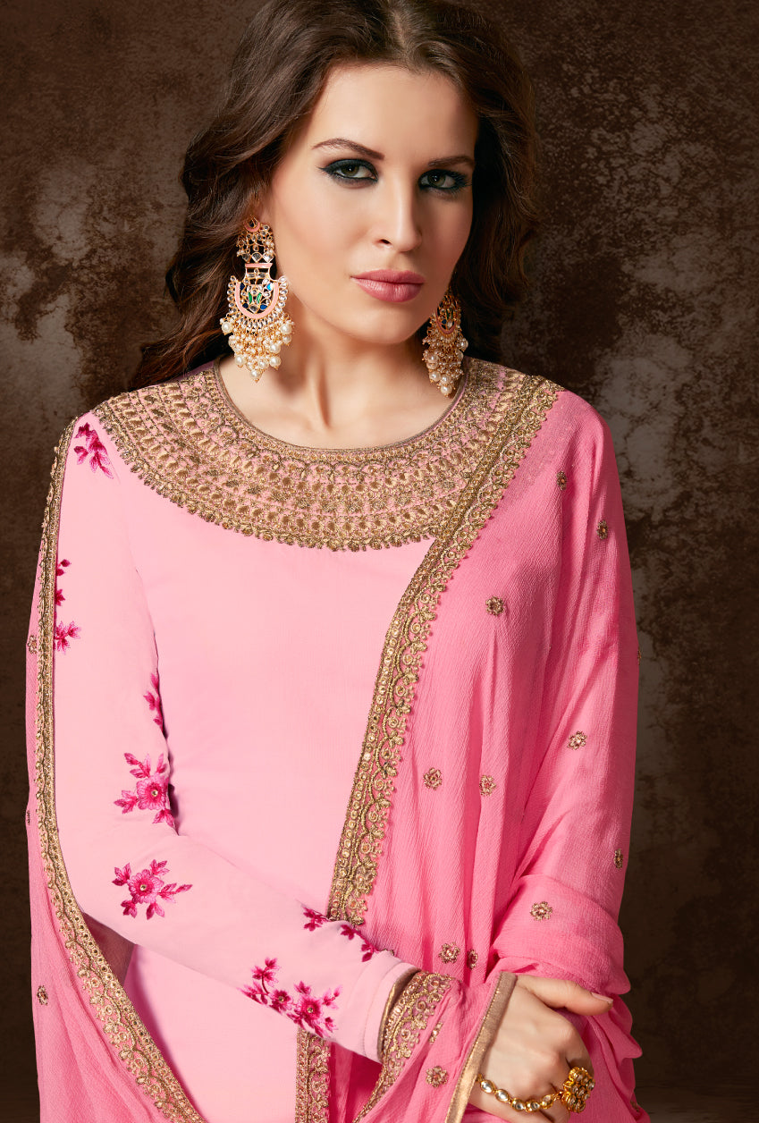 Pink Designer Indian Suit - Desi Royale