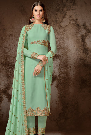 Green Designer Indian Suit - Desi Royale