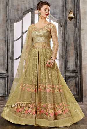 Beige Gold Anarkali Dress - Desi Royale
