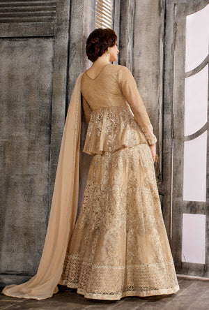 Cream Anarkali Dress - Desi Royale