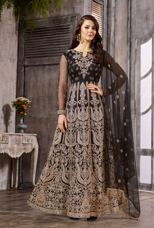 Black Anarkali Dress - Desi Royale