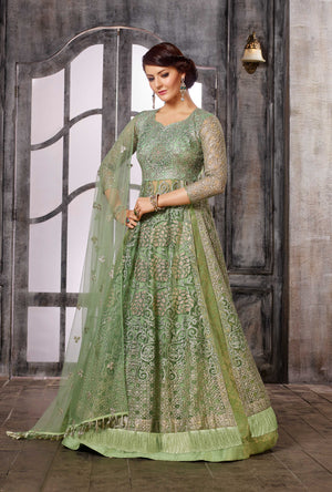Green Anarkali Dress - Desi Royale