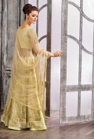Golden Anarkali Dress - Desi Royale
