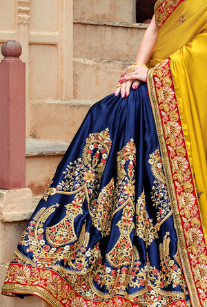 Blue and Mustard Saree - Desi Royale