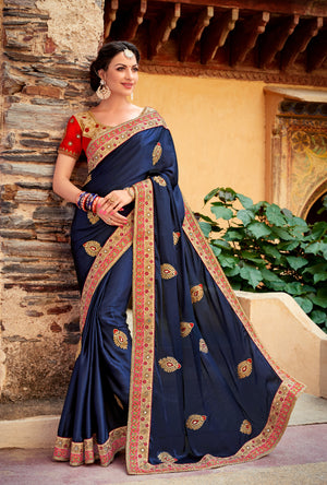 Blue and Red Saree - Desi Royale