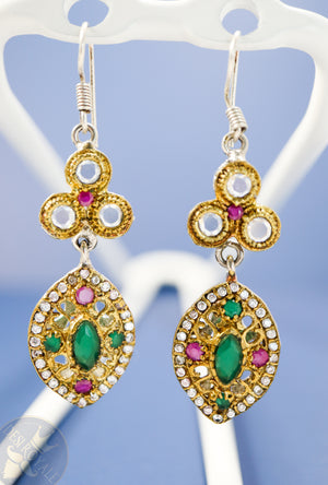 Ruby Emerald oval Silver earrings - Desi Royale