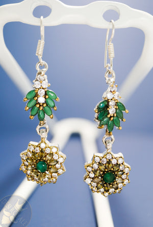 Emerald diamond Silver earrings - Desi Royale