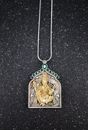 Ganesha Silver pendant with gemstones - Desi Royale