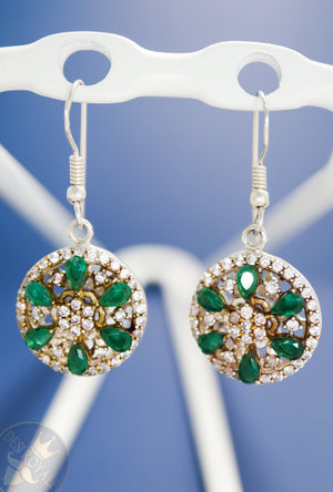 Emerald wheel Silver earrings - Desi Royale