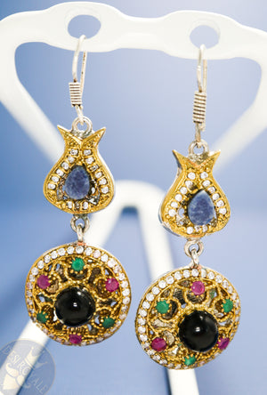 Multicolored Silver earrings with gemstones - Desi Royale