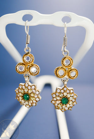 Emerald Flower Silver earrings - Desi Royale