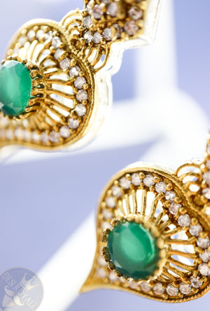 Emerald Paan Silver earrings - Desi Royale