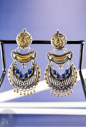 Peacock Silver earrings with gemstones - Desi Royale