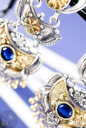Ajanta Silver earrings with gemstones - Desi Royale