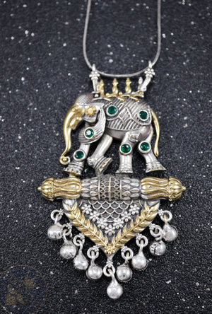 Elephant Silver pendant with gemstones - Desi Royale