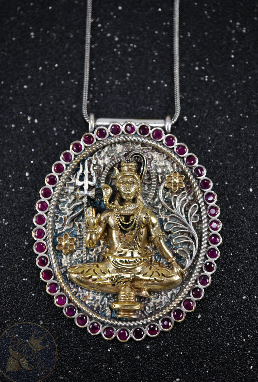 Shiva Silver pendant with gemstones - Desi Royale