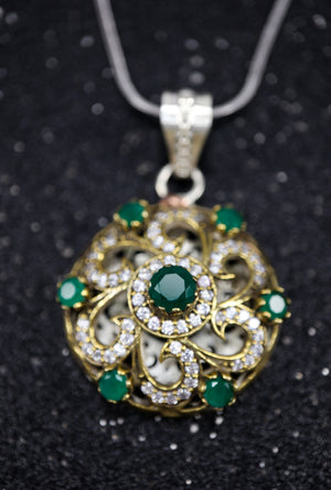 Green Chakra Silver pendant with gemstones - Desi Royale