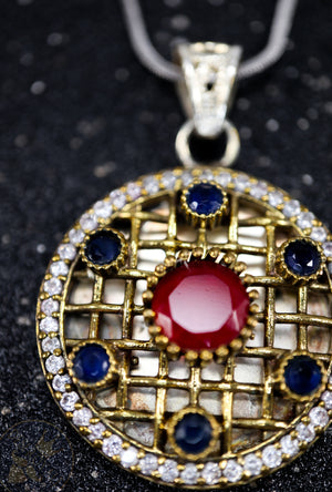 Ruby Silver pendant with gemstones - Desi Royale