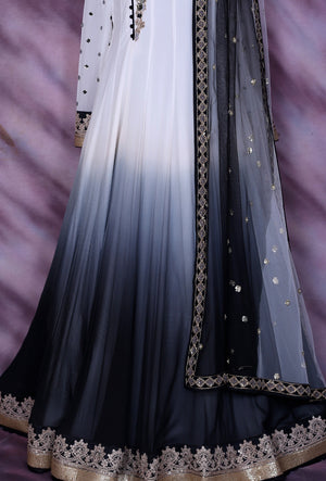 White And Black Designer Party Wear Dress - Desi Royale