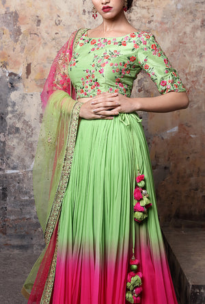 Shaded Green And Pink Designer Lehenga Set - Desi Royale