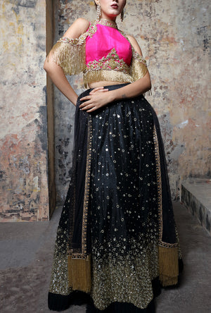 Black  Lehenga Set - Desi Royale