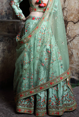 Pista Green Embroidered Bridal Lehenga - Desi Royale