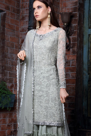 Sage Green Sharara - Desi Royale