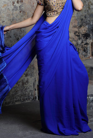 Royal Blue Tassel Saree - Desi Royale