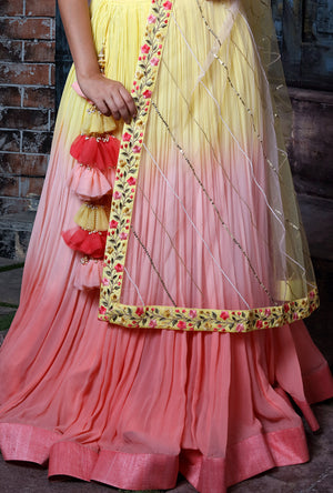 Yellow And Peach Shaded Lehenga Set - Desi Royale
