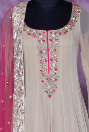 Beige And Pink Designer Party Wear Dress - Desi Royale