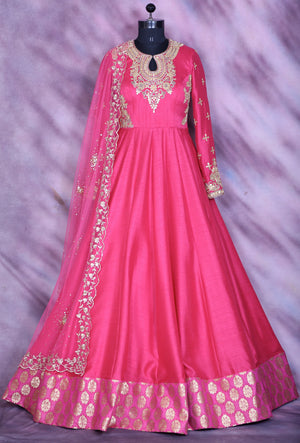 Pink Designer Party Wear Dress - Desi Royale
