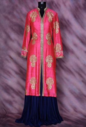Pink And Blue Designer Sharara - Desi Royale